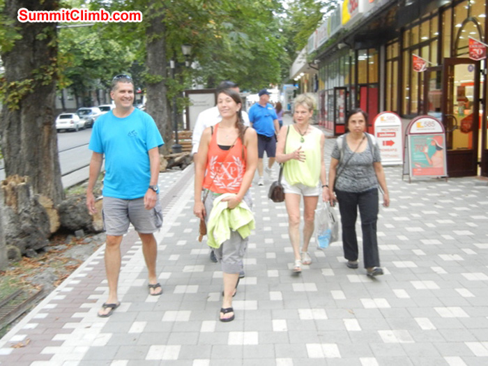 Enjoying the shops, atmosphere and streets of Pyatigorsk Russia. Scott, Terry, Andrea and Pramila. Photo Scott Patch