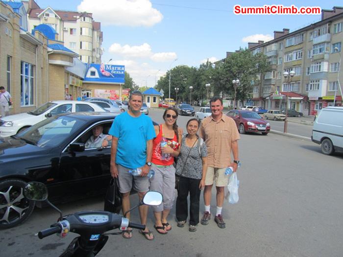 Outside grocery store in Pyatigorsk, Russia. Scott, Terry, Andrea and Pramila. Photo Pramila Kumari