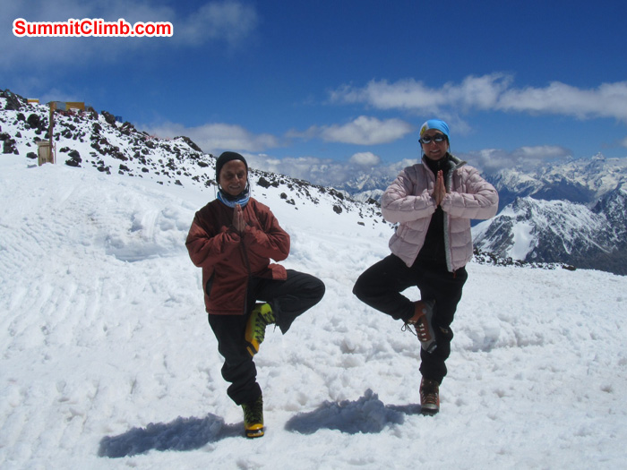 Pramila and Andrea doing yoga on our rest day at Elbrus basecamp 4100 meters (13,450 feet) Photo Scott Patch