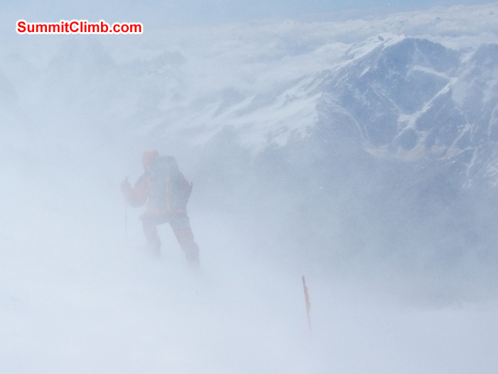 Jan on way down after aborted 1st summit attempt. 5200 meters