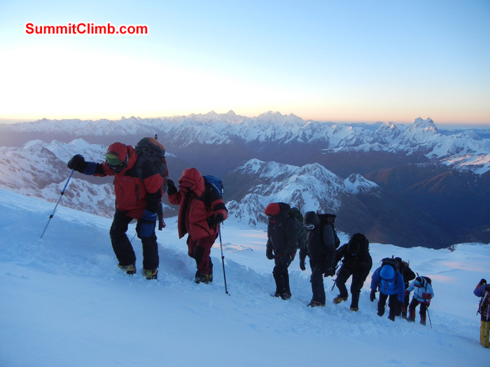 Team heading up for first summit attempt. 4900 meters
