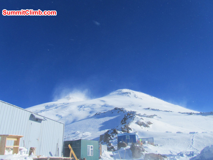 Our huts with Elbrus in background