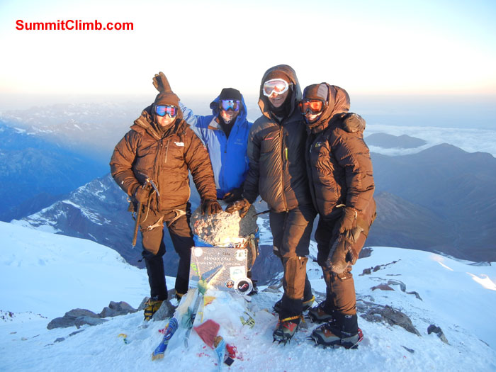 Team members, Ryan Vlasek, Andrea Devoe, Terry Schuck and Scott Patch on the summit of Mount Elbrus 4,741 m (15,554 ft). Photo Scott Patch.