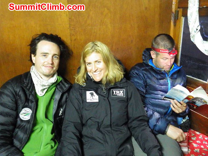 1 Mike Lobsinger, Christie and Derek lounging at the Hotel Danphe in Namche Nepal after a 6 hour hike to 3345 meters from Phakding. Photographer: Alex