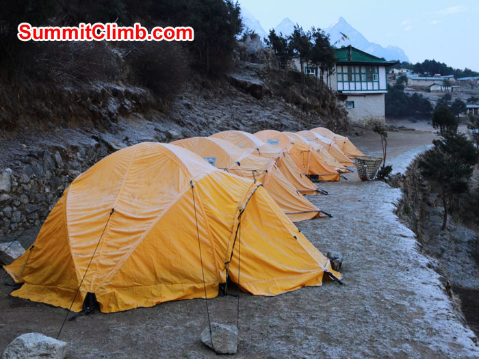 Our tents outside the Danfe lodge in the morning of April 12. Photo taken by Neal Kushwaha.