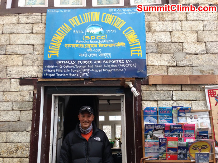 Thile Nuru Sherpa about to step into the SPCC office in Namche on April 12. Photo taken by Neal Kushwaha