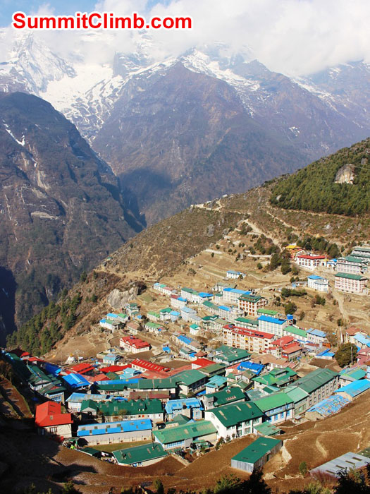 Namche on a sunny day. Mount Kwangde in the background. Sam Chappatte Photo