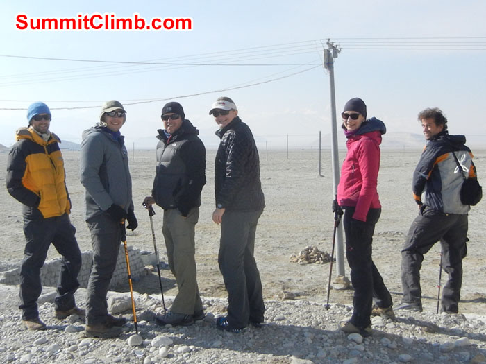 Members in Tingri Tibet - Getting first view of Everest from Tibet. Photo by Scott Patch
