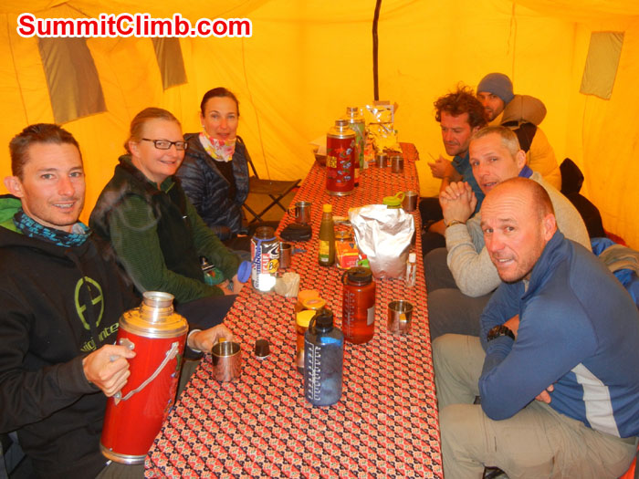 Team gathering for dinner in or Basecamp Dining Tent - Photo Scott Patch