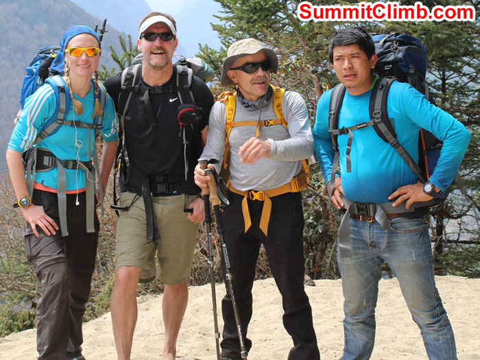 Aleessandra, Patrick, Edward and Laxman on the Everest Trail to Tyangboche Monastery. Sam Chappatte Photo