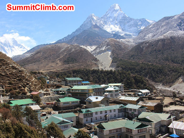 Pangboche village with Ama Dablam and Everest in the background. Photo by Sam Chappatte