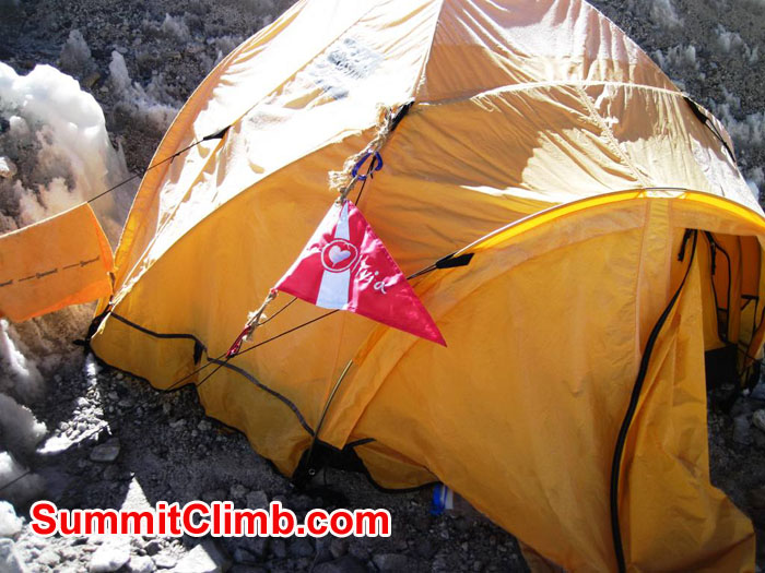 EBC basecamp tent with Olivia Constants Foundation Flag. Photo by Patrick McKnight