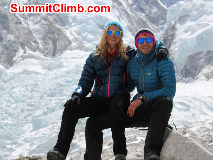 Sam & Alex in front of Icefall. Photo by Sam Chappatte