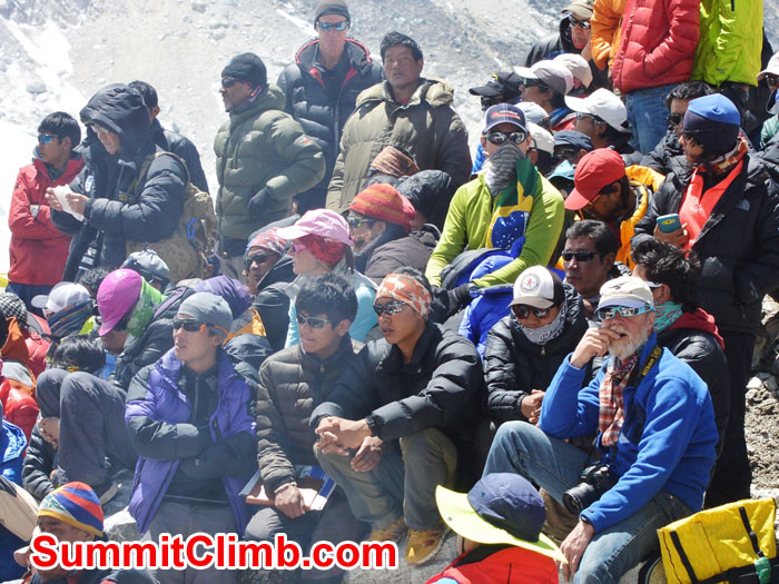 Sherpas, climbers, media & government attend the wake meeting in ABC. Photo by Mike Fairman