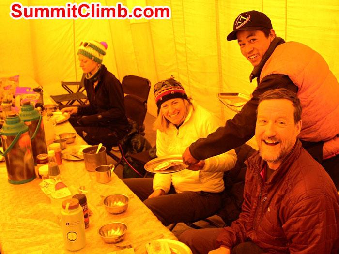 Team breakfast in EBC, with Nouri, Patrick, Christie & Alex. Photo by Sam Chappatte