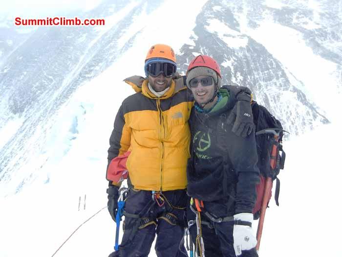 A happy Adi Koszta and Thomas Van Dantzig at north Col, Everest Tibet - Photo Scott patch
