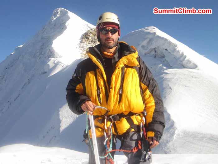 Michael Tomordy at the Lobuche summit photo by Patrick McKnight