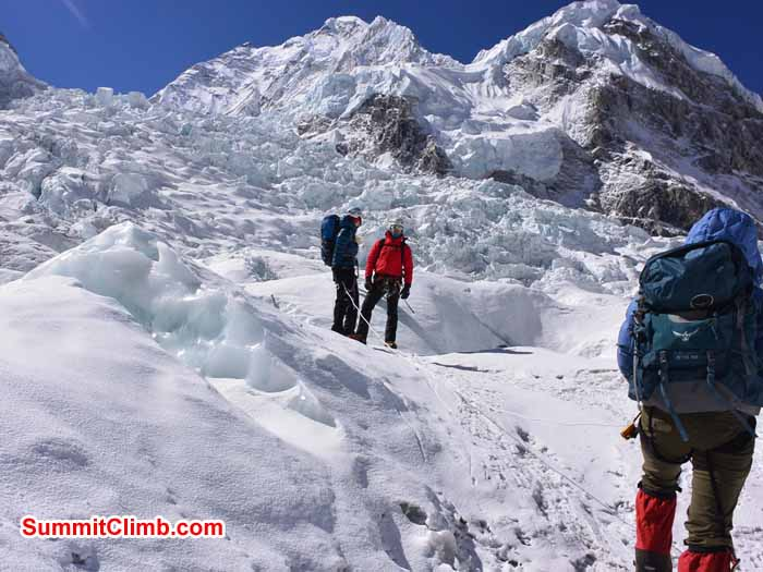 Paula, Alexandra, and Sam ice training near Everest basecamp. Photo by Mike Fairman