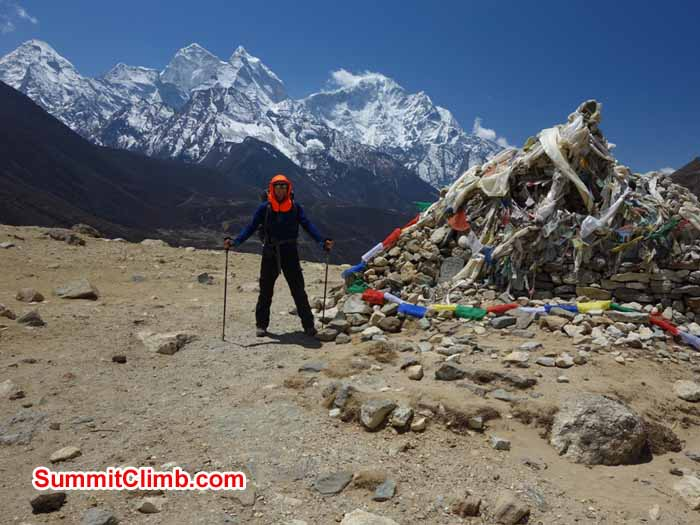 David Maidment next to chorten on Dughla Hill; view towards Ama Dablam. Photo Tenji Sherpa