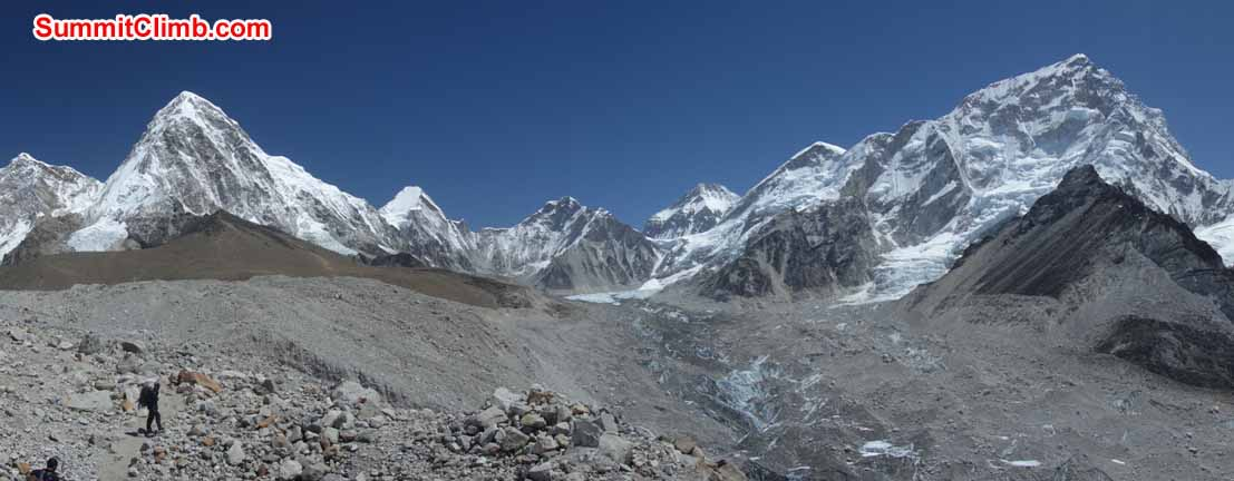 View towards Base Camp; Pumori on left; Nuptse on right. Photo David Maidment
