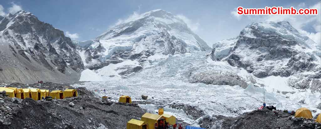 Basecamp Panaroma. Mountains left to right - Khumbutse, Lho La, West Ridge of Everest, Khumbu Icefall, Nuptse. Photo by David Maidment
