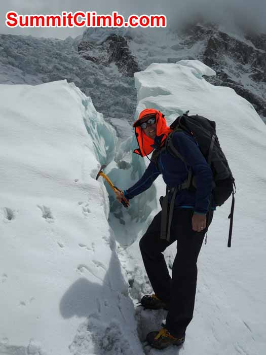 David Maidment in Khumbu Glacier Training near Everest Basecamp. Dan Mazur photo