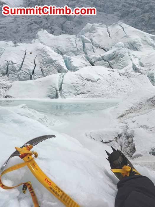 Ice axe and crampon training in the Khumbu Glacier near Everest basecamp. Photo David Maidment