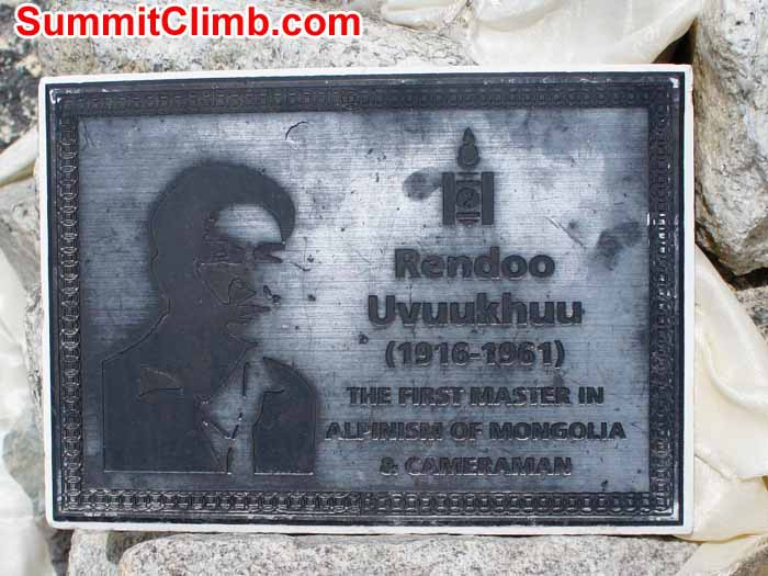 Memorial plaque to a fallen Mongolian climber. Photo by Gary Murray