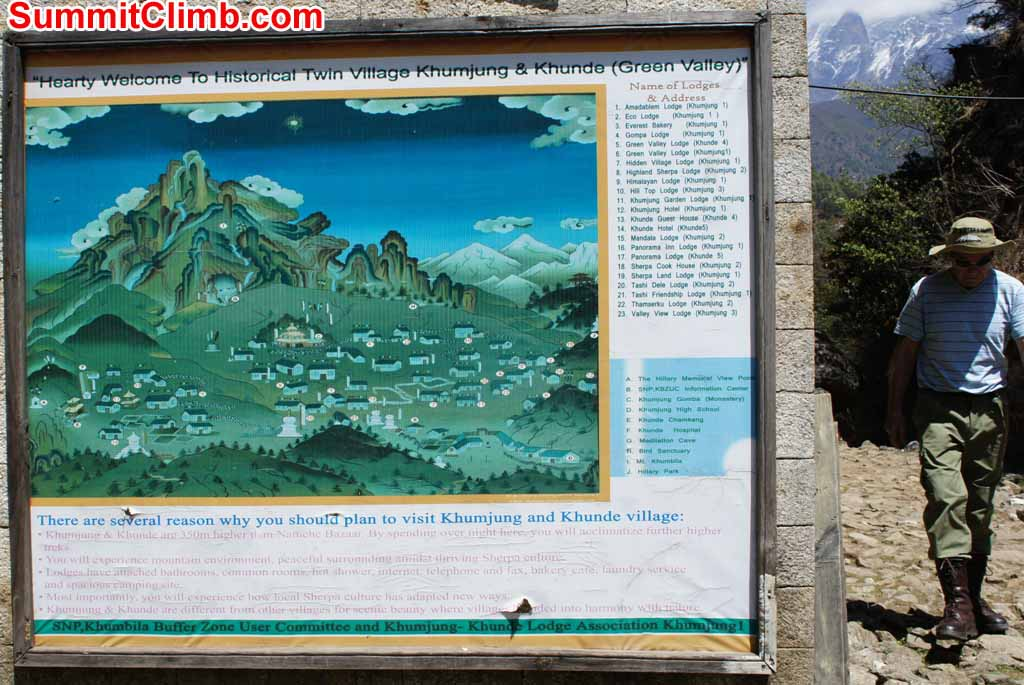 Pictorial map of Khumjung and Kunde Village. Photo Gary Murray