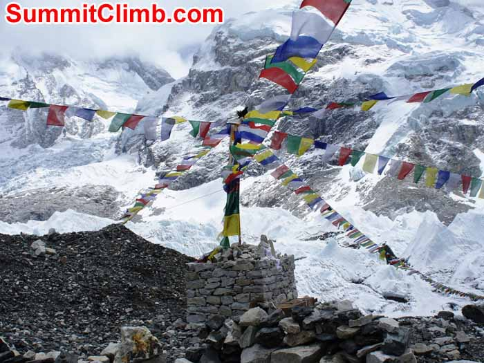 Prayer flags in Everest base camp. Gary Murray Photo
