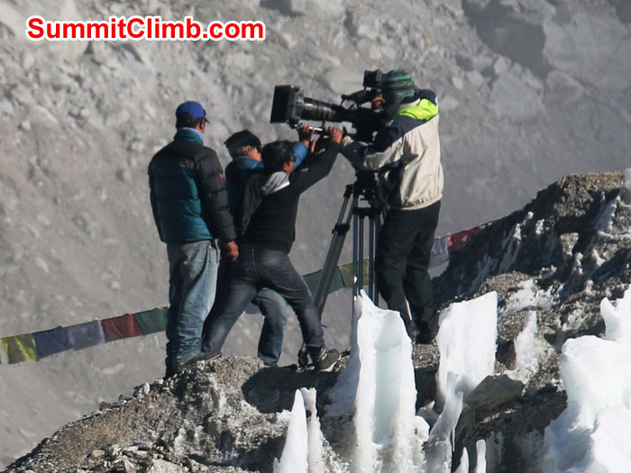 Cameramen filming the the new version of Into Thin Air in Everest Basecamp. Photo by Elmo Francis