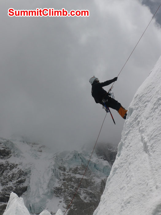 Elmo Francis abseiling on Mount Jangbu in the Khumbu Glacier near Everest Basecamp. Photo by Gary Murray