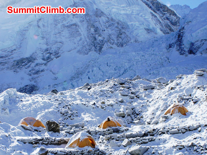 Our comfortable little Everest basecamp with an individual sleeping tent for each member. Photo by Garry Murray