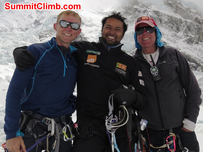 The last team in the Khumbu Icefall - David Maidment, Elmo Francis, and Dan Mazur. David Maidment Photo