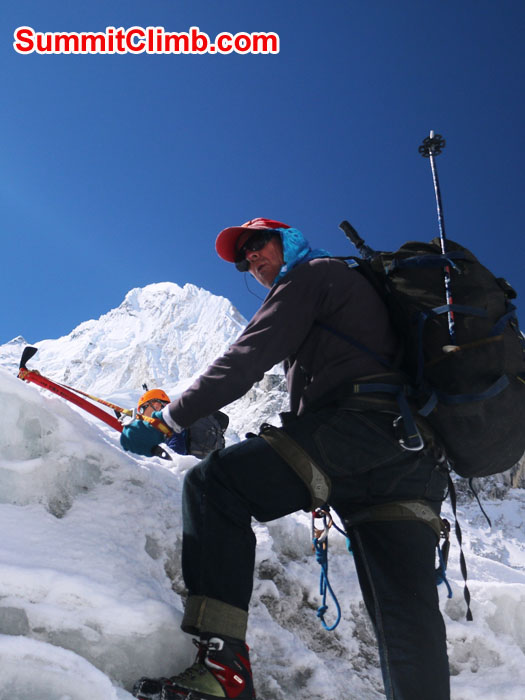 Dan climbing in the Khumbu Icefall. Elmo Francis Photo