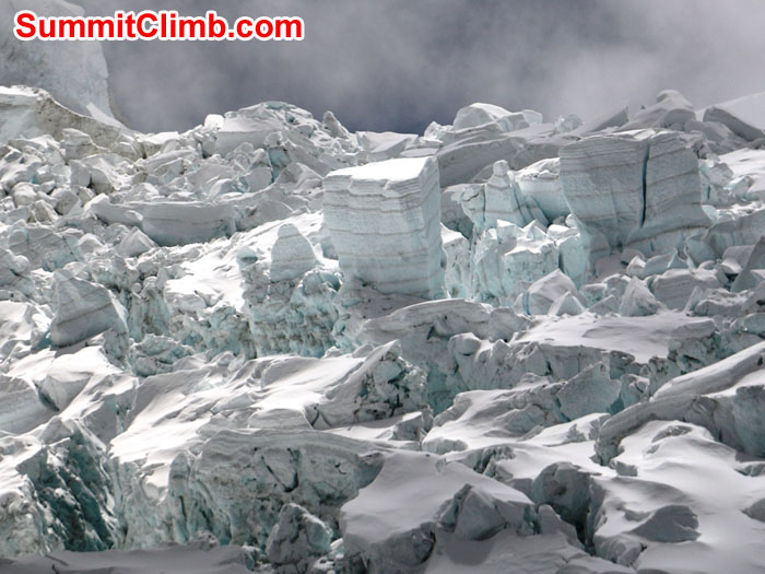 Closeup of Khumbu Icefall by Elmo Francis