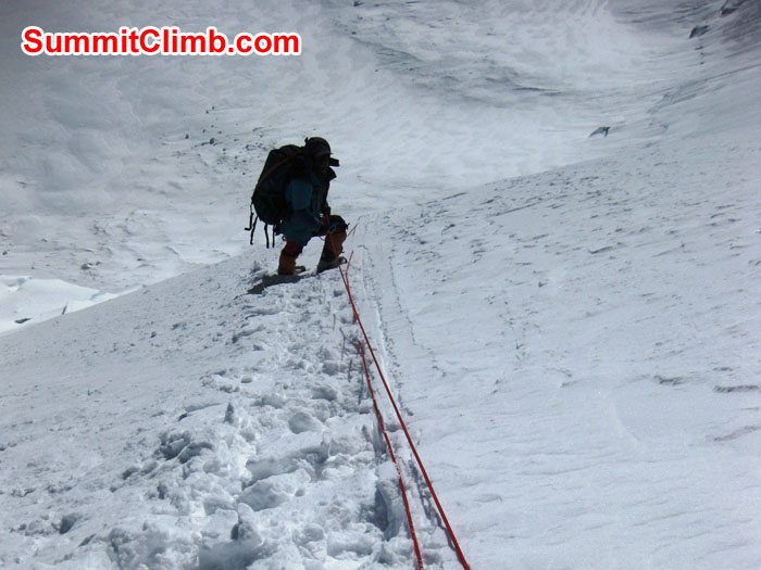 Sherpa breaking trail down to ABC from North Col after fresh snow - Photo Mia Graeffe