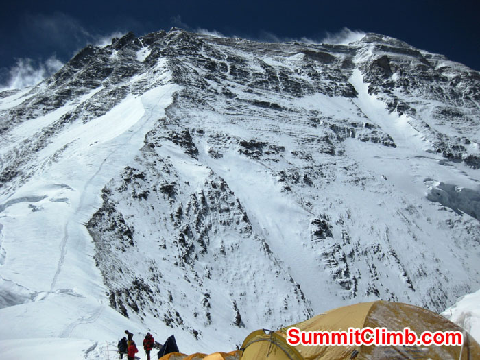 Tent at North Col with route to Camp 2 seen up snowfield and Everest summit in upper right - Photo Mia Graeffe