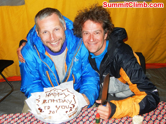 Arni Vatnhamar (left) and Franz Macherhammer (right) displaying Arnie's delicious birthday cake