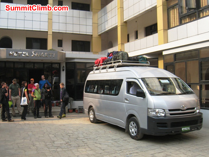 Airport mini van at Shakti Hotel. Scott Smith Photo