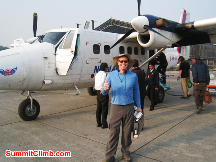 Scott Smith in front of the plane that will fly us to Lukla. Scott Smith Photo