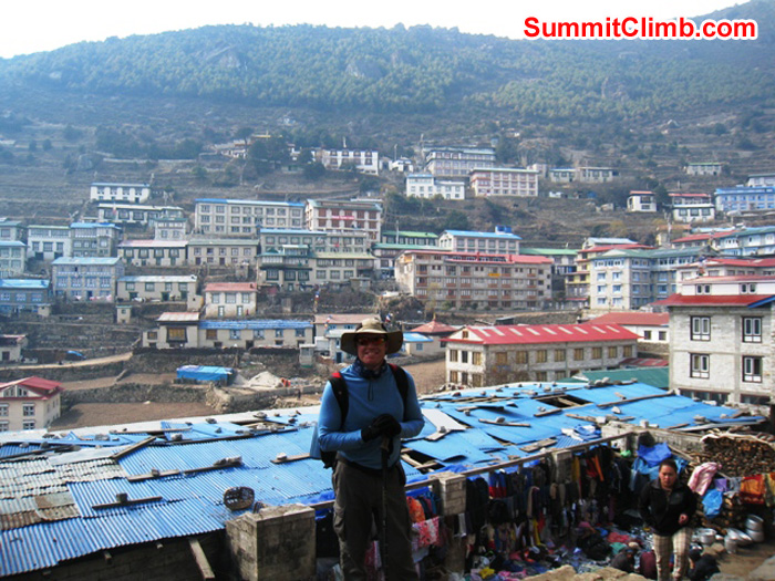 Scott Smith in front of Namche Bazar. Photo by Don Lenz
