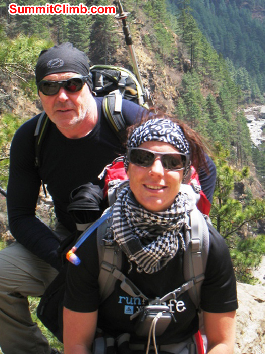 Kieran Lally and Sandra Grosskinsky on the Everest Path. Sun Khosi river in background. Scott Smith Photo