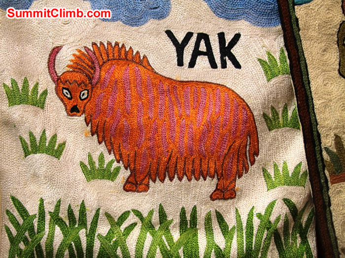 Yak embroidery for sale in a Namche Bazaar souvenir shop. Monika Witkowska Photo.