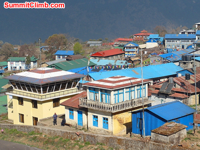 Control towers at the Lukla airport. New tower on the left, old tower on the right. Monika Witkowska Photo.