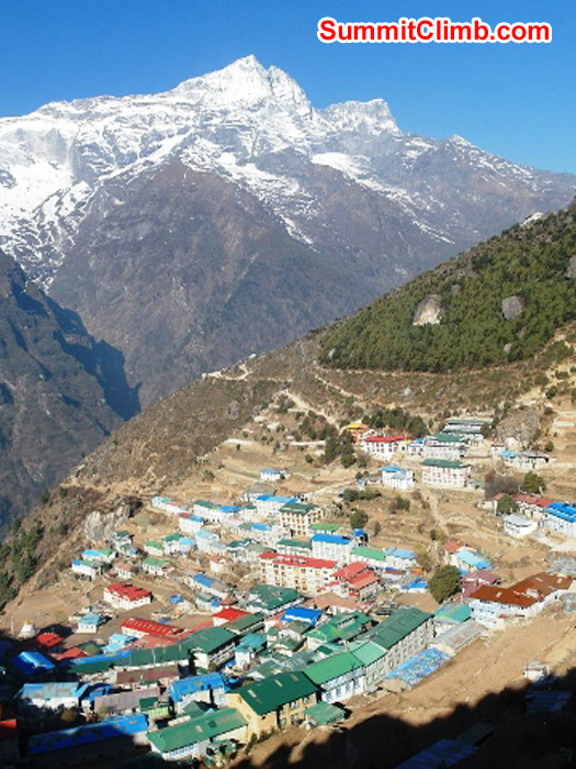 Namche Bazar village with beautiful Kwangde Ri mountain in the background. Monika Witkowska Photo.