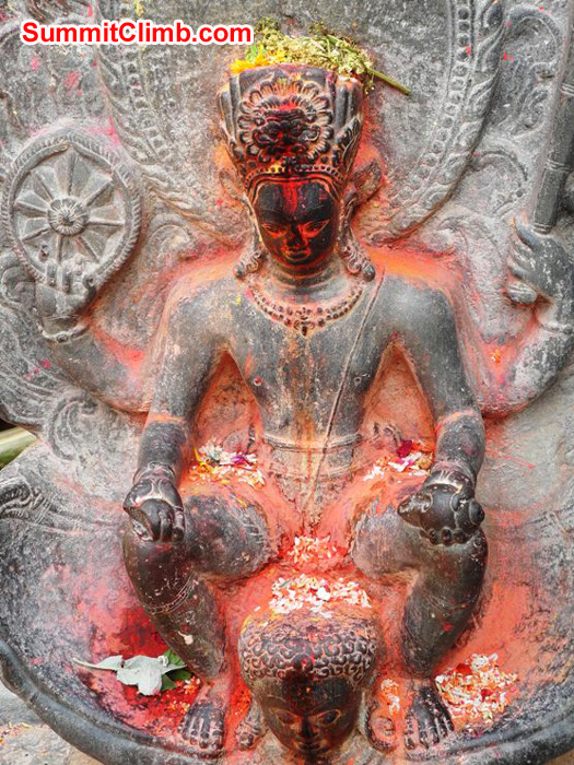 Statue of the God of wisdom Manjushree at the Monkey Temple in Kathmandu. Violetta Pontinen Photo.