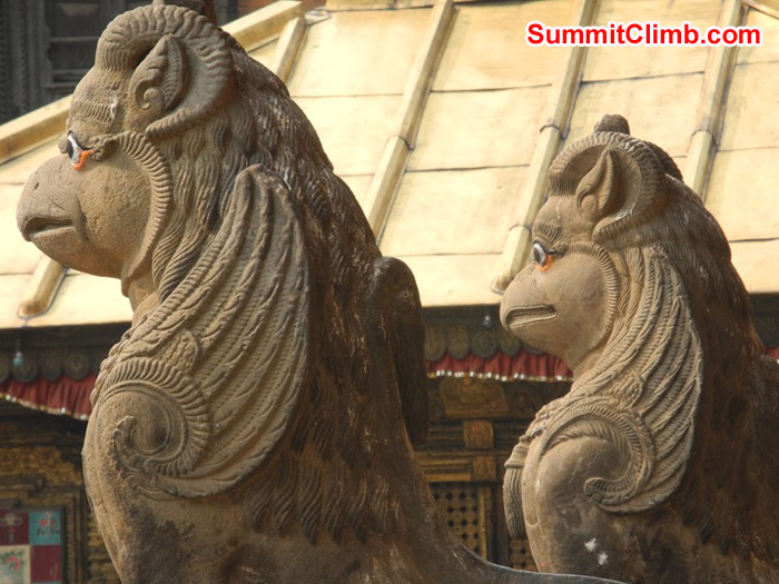 Twin lion statues at the Kathmandu Monkey Temple. Violetta Pontinen Photo.
