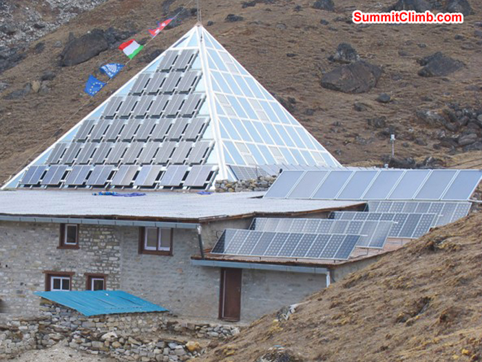 Italian research pyramid at Lobuche, was built in memory of Il Profesore Ardito Desio. Monika Witkowska Photo