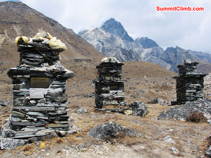 Chorten memorials to fallen climbers atop Dughla hill. Mount Lobuche in background. Monika Witkowska Photo.